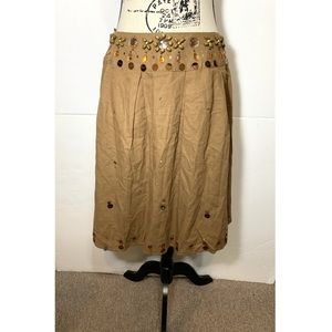 Carole Little Straight Beaded Skirt Linen Blend